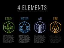 Aard 4 het embleemteken van de elementencirkel Water, Brand, Aarde, Lucht op zeshoek Royalty-vrije Stock Afbeeldingen