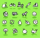 Aard, het kamperen, groene geplaatste pictogrammen Stock Foto