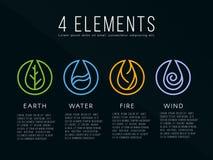 Aard 4 het teken van het elementenembleem Water, Brand, Aarde, Lucht Op donkere achtergrond Royalty-vrije Stock Foto's