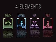 Aard 4 van de de grens abstract gradiënt van de elementenlijn het pictogramteken Water, Brand, Aarde, Lucht Op donkere achtergron Royalty-vrije Stock Foto's