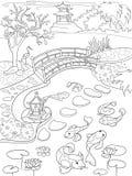 Aard van het kleurende boek van Japan voor kinderenbeeldverhaal Japanse tuin vectorillustratie Stock Fotografie