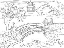 Aard van het kleurende boek van Japan voor kinderenbeeldverhaal Japanse tuin vectorillustratie Stock Afbeelding