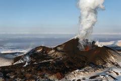 Aard van Kamchatka: de Vulkaan van uitbarstingstolbachik Royalty-vrije Stock Afbeelding