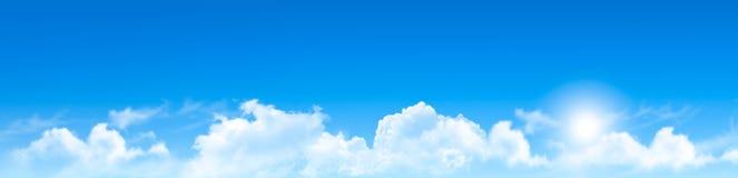 Aardachtergrond met blauwe hemel en wolken vector illustratie