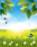 Aardachtergrond met de lentescène royalty-vrije illustratie
