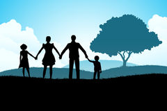 Aardachtergrond met Familiesilhouet Stock Fotografie