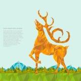 Aardachtergrond met hertenbos en mountines verfrommelde stijl Stock Afbeelding