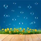 Aardachtergrond met zeepbels Royalty-vrije Stock Afbeeldingen