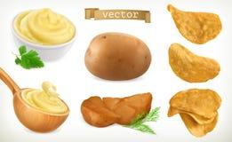 Aardappel, brij en spaanders plantaardig Drie kleurenpictogrammen op kartonmarkeringen vector illustratie