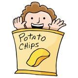 Aardappel Chip Kid Stock Afbeeldingen