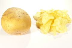 Aardappel en spaanders Stock Foto's