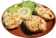 Aardappelen in de schil met kaas Royalty-vrije Stock Afbeeldingen