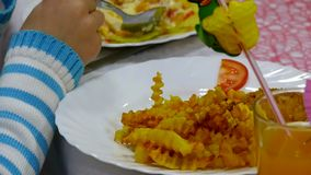 Aardappelfrieten en lapje vlees op plaat met stock videobeelden