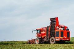 Aardappelmaaimachine en tractor Stock Foto's