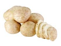 Aardappels die op wit worden geïsoleerdr stock foto's