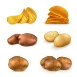 Aardappels en spaanders vectorpictogrammen royalty-vrije illustratie