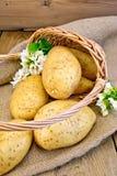 Aardappels geel in mand met bloem op jute Stock Afbeelding