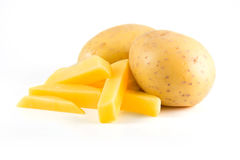 Aardappels met frieten stock foto's