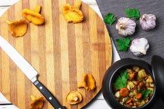Aardappels met paddestoelen in een kleipot Paddestoelen van het bos Stock Foto