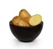 Aardappels op hout Stock Afbeelding
