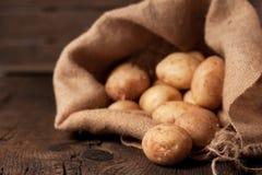 Aardappels in zak Royalty-vrije Stock Foto's