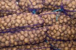 Aardappels in zakken, groenten, landbouw, agro-industrie royalty-vrije stock afbeelding