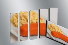 Aardappelsalade met worst op 3D grafiek Stock Foto's