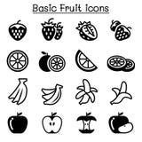 Aardbei, Apple, Sinaasappel, Banaan, de reeks van het Fruitpictogram Stock Afbeelding