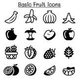 Aardbei, Apple, Sinaasappel, Banaan, de reeks van het Fruitpictogram Stock Foto's