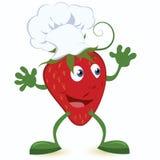 Aardbei-beeldverhaal-karakter-in-chef-kok-hoed Royalty-vrije Stock Afbeelding