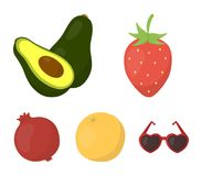 Aardbei, bes, avocado, sinaasappel, granaatappel Vruchten geplaatst inzamelingspictogrammen in vector het symboolvoorraad van de  stock illustratie