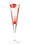 Aardbei Champagne - Kerstmiscocktail Royalty-vrije Stock Foto