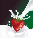 Aardbei in de vorm van hart en melksplas vector illustratie