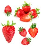 Aardbei die op witte achtergrond wordt geïsoleerdp Rode rijpe gehele strawber Royalty-vrije Stock Foto