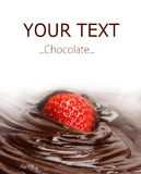 Aardbei die in smeltende donkere chocolade wordt ondergedompeld royalty-vrije stock fotografie
