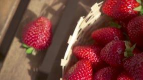 Aardbei in een rieten mand en camerabeweging op een cocktail langzame motie stock video