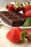 Aardbei en chocolade Royalty-vrije Stock Foto's