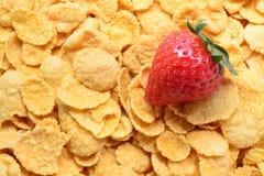 Aardbei en cornflakes Stock Foto