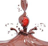Aardbei in het bespatten chocolade het 3d teruggeven Royalty-vrije Stock Afbeelding