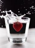 Aardbei het bespatten in glas water Royalty-vrije Stock Foto's
