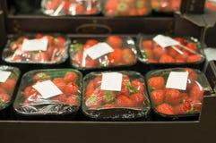 Aardbei in kleine dozen in supermarkt Stock Afbeelding