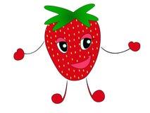 Aardbei Leuk fruit vectordiekarakter - reeks op wit wordt ge?soleerd vector illustratie