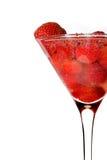 Aardbei in martini glas met champagne Stock Foto's