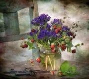 aardbei met bloemen Stock Afbeelding