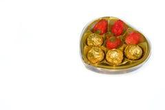 Aardbei met chocolade stock foto's