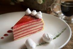 Aardbei Mille Crepe Cake 2 Stock Foto's
