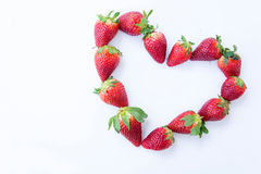 Aardbei op witte achtergrondfruit` s gezonde hartelijk, nuttig stock afbeeldingen