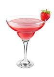 Aardbei smoothie cocktail met rijpe sappige bes Royalty-vrije Stock Fotografie