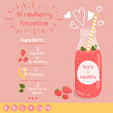 Aardbei smoothie recept Royalty-vrije Stock Foto's