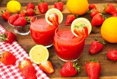 Aardbei smoothies Stock Foto